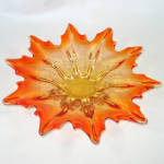 Click here to enlarge image and see more about item 13873: Murano Autumn Leaf Shape 12 Inch Amberina Bowl
