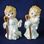 Click here to enlarge image and see more about item 13877: Josef Originals 1960s Christmas Shepherd With Lambs Figurines