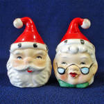 Click here to enlarge image and see more about item 13878: Lefton 2 Sided Santa Mrs Claus Christmas Salt Pepper Shakers