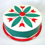 Click here to enlarge image and see more about item 13896: Red Green Tulips Large Tin Litho Cake Saver Keeper Carrier