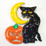 Click here to enlarge image and see more about item 13898: Halloween Black Cat Pumpkin Moon Brooch Pin