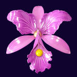 Click here to enlarge image and see more about item 13899: Purple Orchid Flower Enameled 1960s Mod Brooch Pin