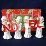 Click here to enlarge image and see more about item 13900: Relco Noel Christmas Angels 1950s Candle Holder Figurines Boxed Set