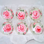 Click to view larger image of Box Hand Painted Pink Roses Glass Christmas Ornaments (Image1)