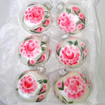 Click to view larger image of Box Hand Painted Pink Roses Glass Christmas Ornaments (Image2)