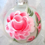 Click to view larger image of Box Hand Painted Pink Roses Glass Christmas Ornaments (Image3)