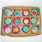Click to view larger image of Box Poland Fancy Flower Indent Glass Christmas Ornaments (Image1)