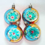 Click to view larger image of Box Poland Fancy Flower Indent Glass Christmas Ornaments (Image5)