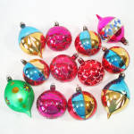 Click to view larger image of Box Poland Fancy Flower Indent Glass Christmas Ornaments (Image6)