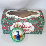 Click to view larger image of Embossed Peacock German Glass Christmas Ornament Mint in Box (Image1)
