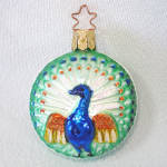 Click to view larger image of Embossed Peacock German Glass Christmas Ornament Mint in Box (Image2)