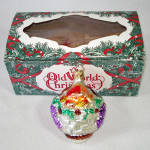 Click to view larger image of Fruit Basket German Glass Christmas Ornament Mint in Box (Image2)
