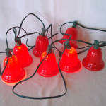 Click to view larger image of String 1950s Christmas Lights Big Red Bell Shades (Image3)