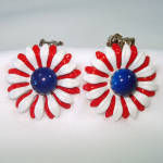 Click here to enlarge image and see more about item 13942: Red White Blue Flower Power Enamel Clip Earrings