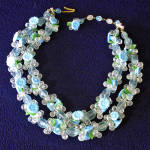 Click here to enlarge image and see more about item 13944: Blue Green West Germany 2 Strand Flower Necklace Fruit Salad