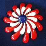 Click here to enlarge image and see more about item 13946: Red White Blue 60s Mod Flower Power Pin Brooch Spiral Petals