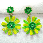 Click here to enlarge image and see more about item 13961: Green Chartreuse Enamel Flower Clip Earrings