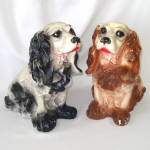 Click to view larger image of Chalkware Brown Cocker Spaniel Dog Large Bank Figure (Image7)