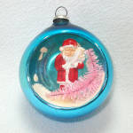 Santa Claus Blue Glass Diorama Indent Scene Christmas Ornament
