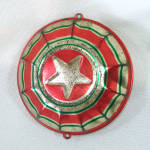 Click here to enlarge image and see more about item 13975: 1930s USA Tin Litho Patriotic Bunting Star Metal Christmas Ornament