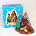 Click here to enlarge image and see more about item 13983: Miniature Hard Plastic Nativity Scene Christmas Ornament Mint in Box