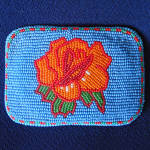 Click here to enlarge image and see more about item 13991: Native American Shoshone Rose Beaded Indian Belt Buckle