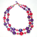 Click here to enlarge image and see more about item 13992: Magenta Purple 2 Strand Faceted Necklace West Germany
