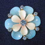 Click here to enlarge image and see more about item 13993: Enamel Rhinestones Double Layer Blue Flower Brooch Pin