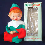 Click here to enlarge image and see more about item 13999: Adorable Retro Musical Wind-Up Christmas Pixie Elf in Original Box
