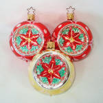 Click here to enlarge image and see more about item 14003: Poinsettia Indent Glass Christmas Ornaments Germany