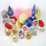 Click here to enlarge image and see more about item 14005: 2 Dozen Jewel Brite Plastic Christmas Ornaments