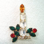Click here to enlarge image and see more about item 14025: Rhinestone Christmas Candle Pin Brooch