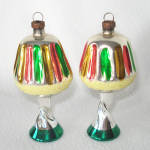 Click here to enlarge image and see more about item 14034: Pair 1950s Blown Glass Lamp Figural Christmas Ornaments