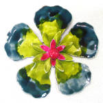 Click here to enlarge image and see more about item 14044: Mid Century Layered Enamel Flower Brooch Pin