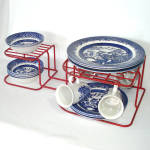 Click here to enlarge image and see more about item 14056: Red Rubbermaid Vinyl Wire Dish and Plate Storage Rack