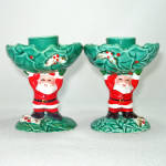 Click here to enlarge image and see more about item 14057: Pair Napco Santa Claus and Holly Christmas Candlesticks