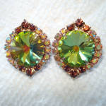 Click here to enlarge image and see more about item 14064: Rivoli Rhinestone Olivine Green Clip Earrings