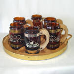 Click here to enlarge image and see more about item 14083: Siesta Ware Western Cowboy Mug Set With Wagon Wheel Tray