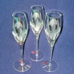 Click here to enlarge image and see more about item 14126: 3 Romanian Floral Cut Crystal Flute Champagne Goblets