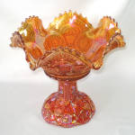 Imperial Twins 1909 Carnival Glass Punch Bowl and Stand