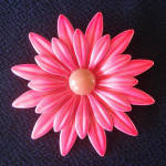 Click here to enlarge image and see more about item 14176: Big Hot Pink Daisy Enameled Flower Power Pin Brooch