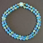 Click here to enlarge image and see more about item 14204: Icy Blues Greens Faceted Western Germany 2 Strand Necklace