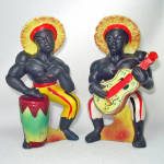 Click here to enlarge image and see more about item 14213: Blackamoor Musicians Ceramic Salt Pepper Shakers