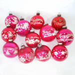 Click to view larger image of Box Shiny Brite Stencil Scene Glass Christmas Ornaments (Image3)