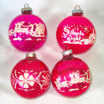 Click to view larger image of Box Shiny Brite Stencil Scene Glass Christmas Ornaments (Image4)