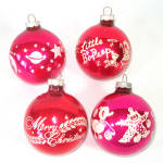 Click to view larger image of Box Shiny Brite Stencil Scene Glass Christmas Ornaments (Image5)