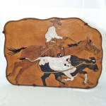 Click here to enlarge image and see more about item 14222: Cowboy Roping Steer Tooled Leather Wall Art Picture