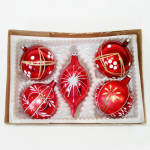 Click here to enlarge image and see more about item 14226: Box Glittered Red Glass Christmas Ornaments