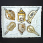 Click here to enlarge image and see more about item 14229: Set 1960s Figural Glass Christmas Ornaments