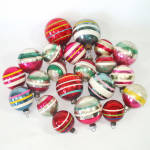 Click here to enlarge image and see more about item 14234: Lot 21 Assorted Striped Glass Christmas Ornaments